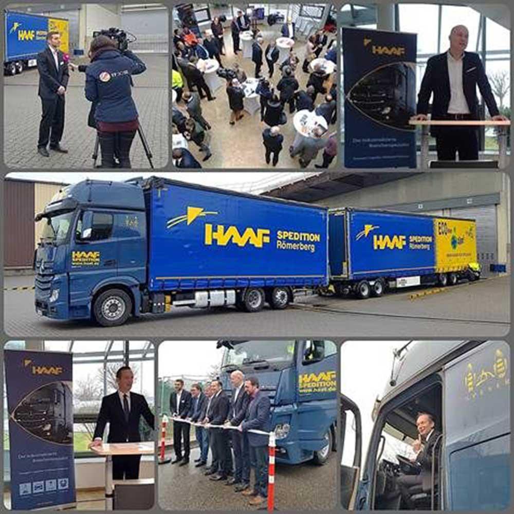 Bildkollage der Indienststellung des ersten Lang-LKW in Rheinland-Pfalz